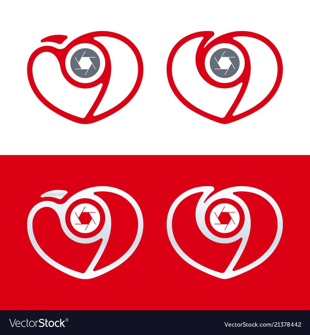Photography logo camera icon with heart and