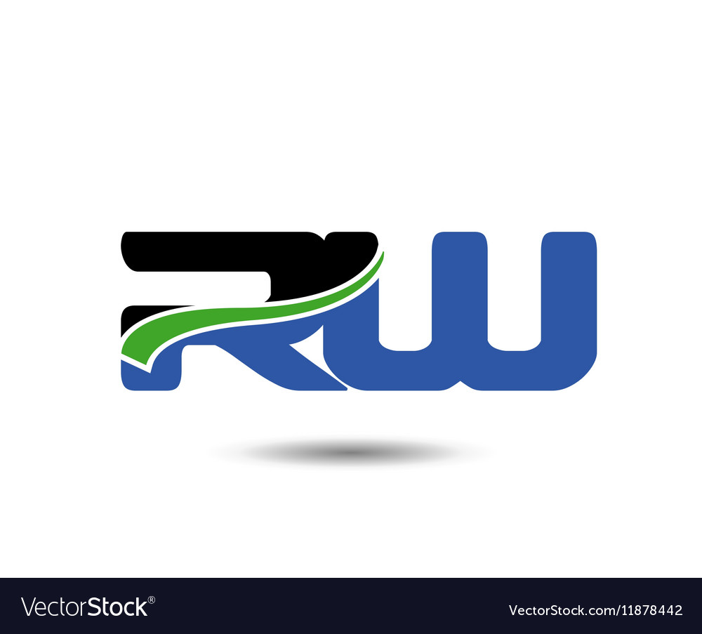 RW company group linked letter logo vector image