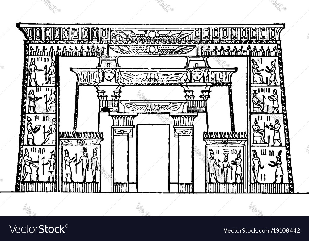 Temple of isis roman temple vintage engraving