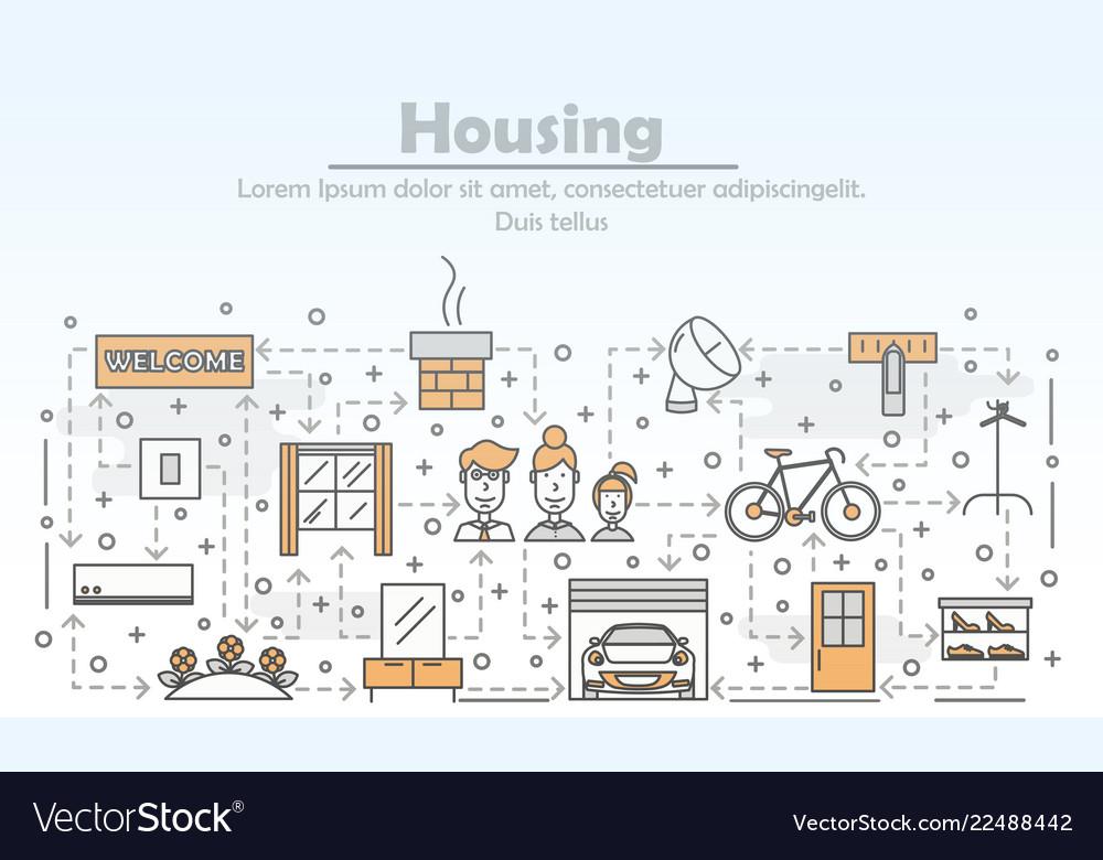 Thin line art housing poster banner