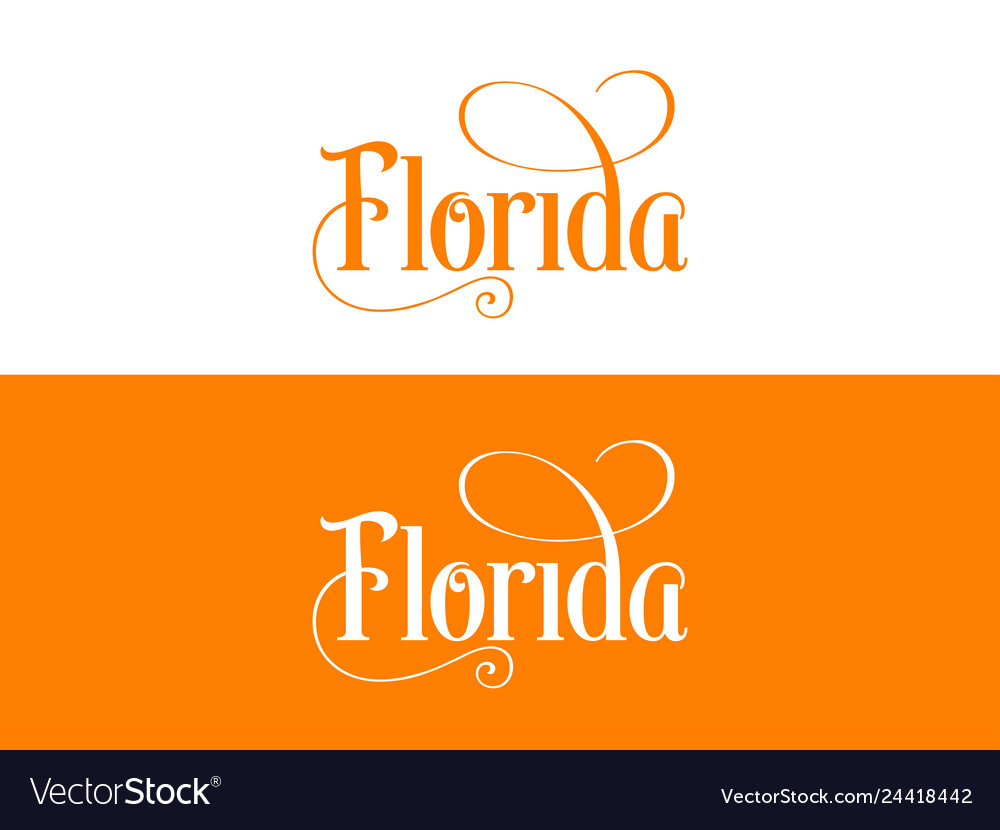 Typography of the usa florida states handwritten