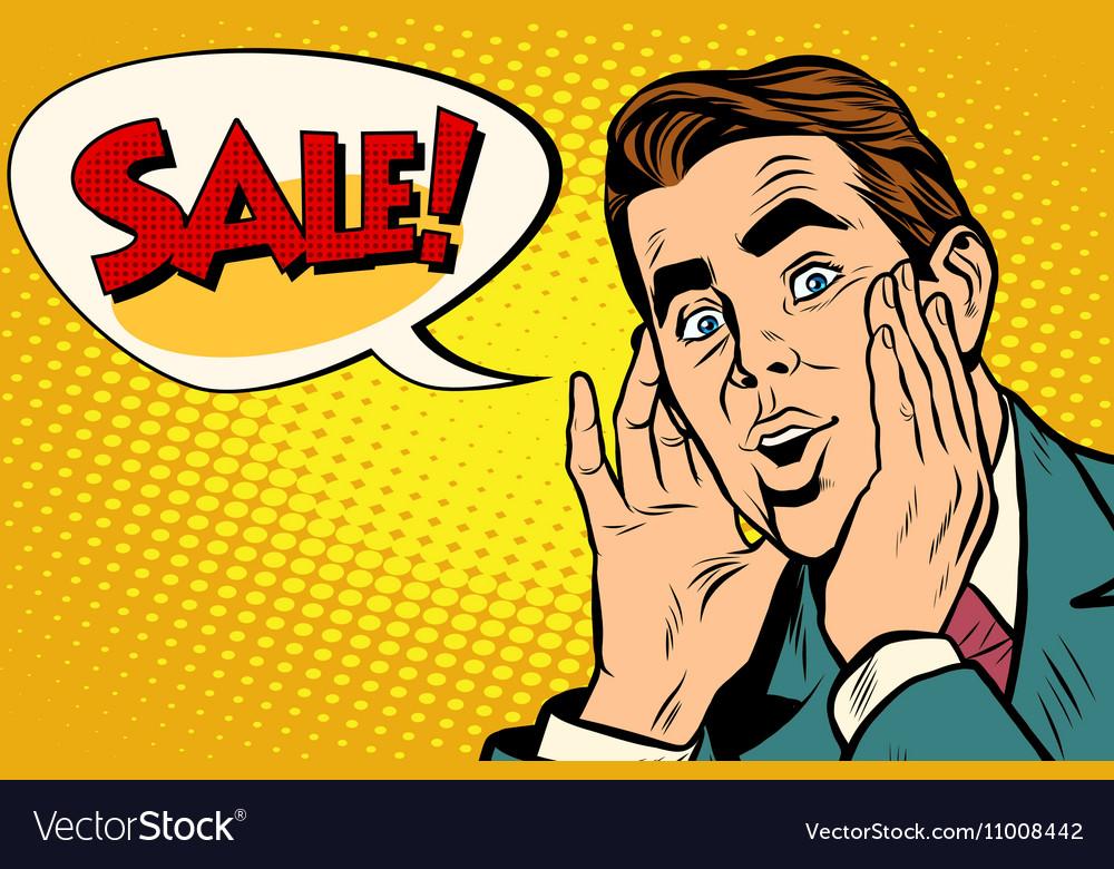 wow man sale pop art royalty free vector image