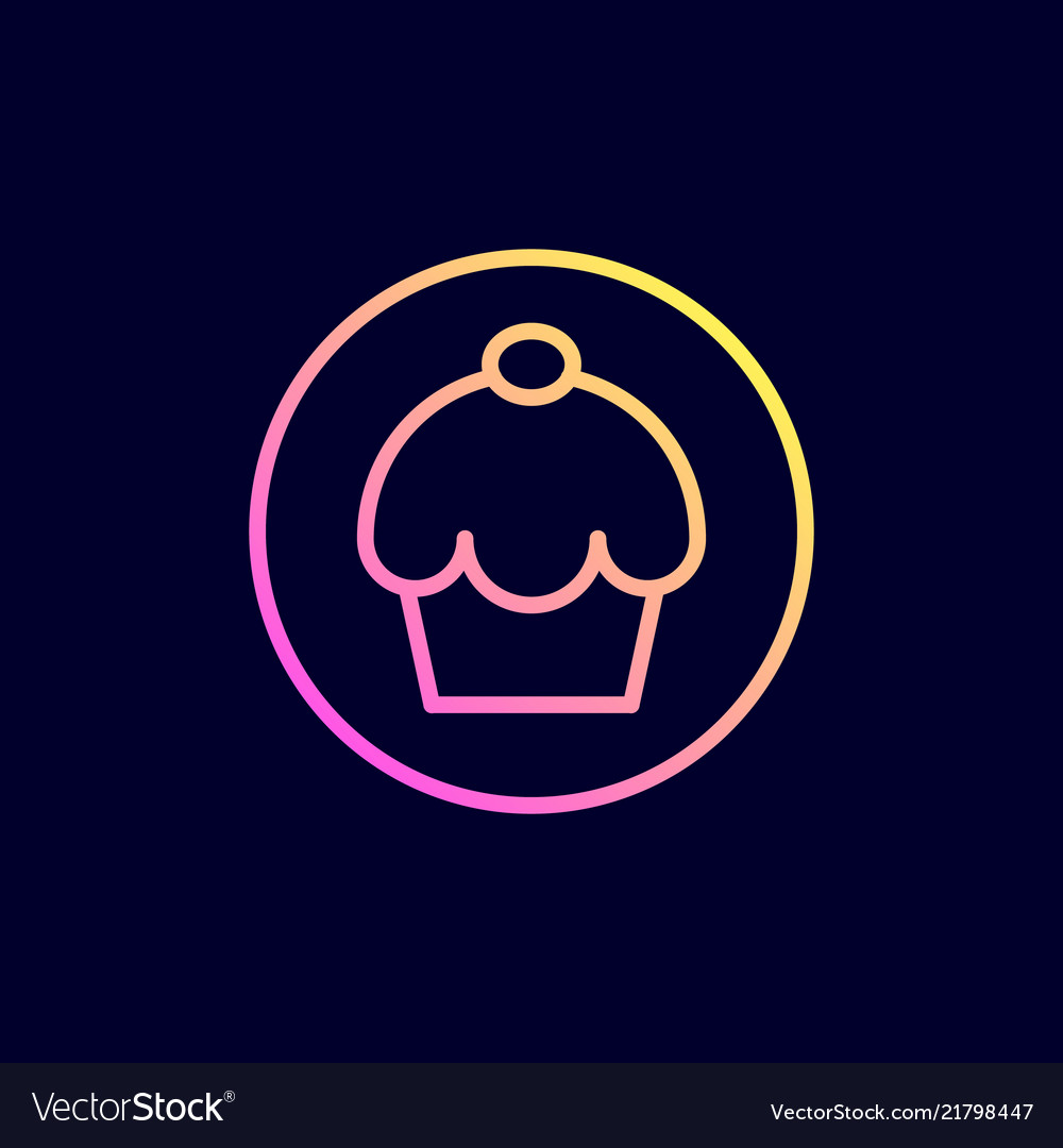 Cake icon in flat line style