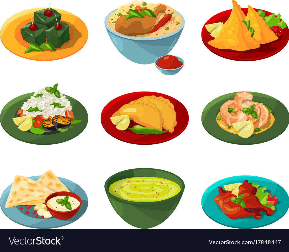 Cartoon set of traditional indian food in