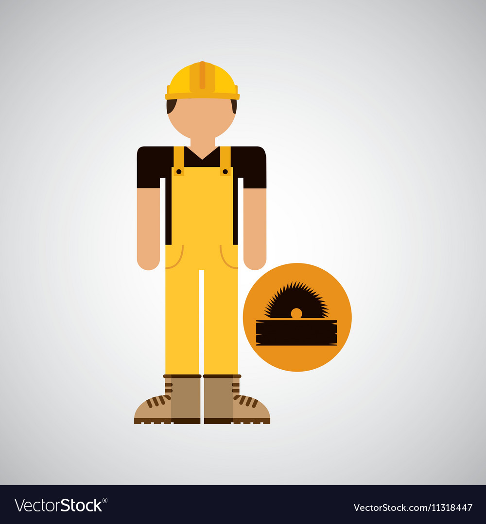 Character construction man with sawmill
