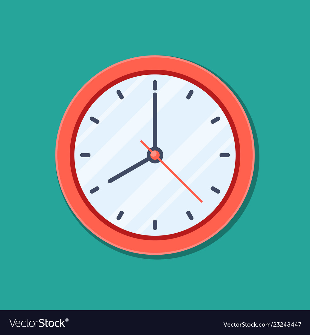 Clock icon in flat style timer isolated on green