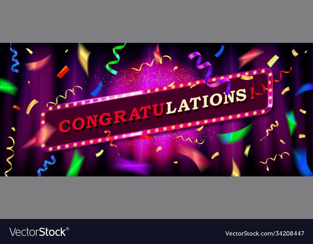 Congratulations background with falling confetti