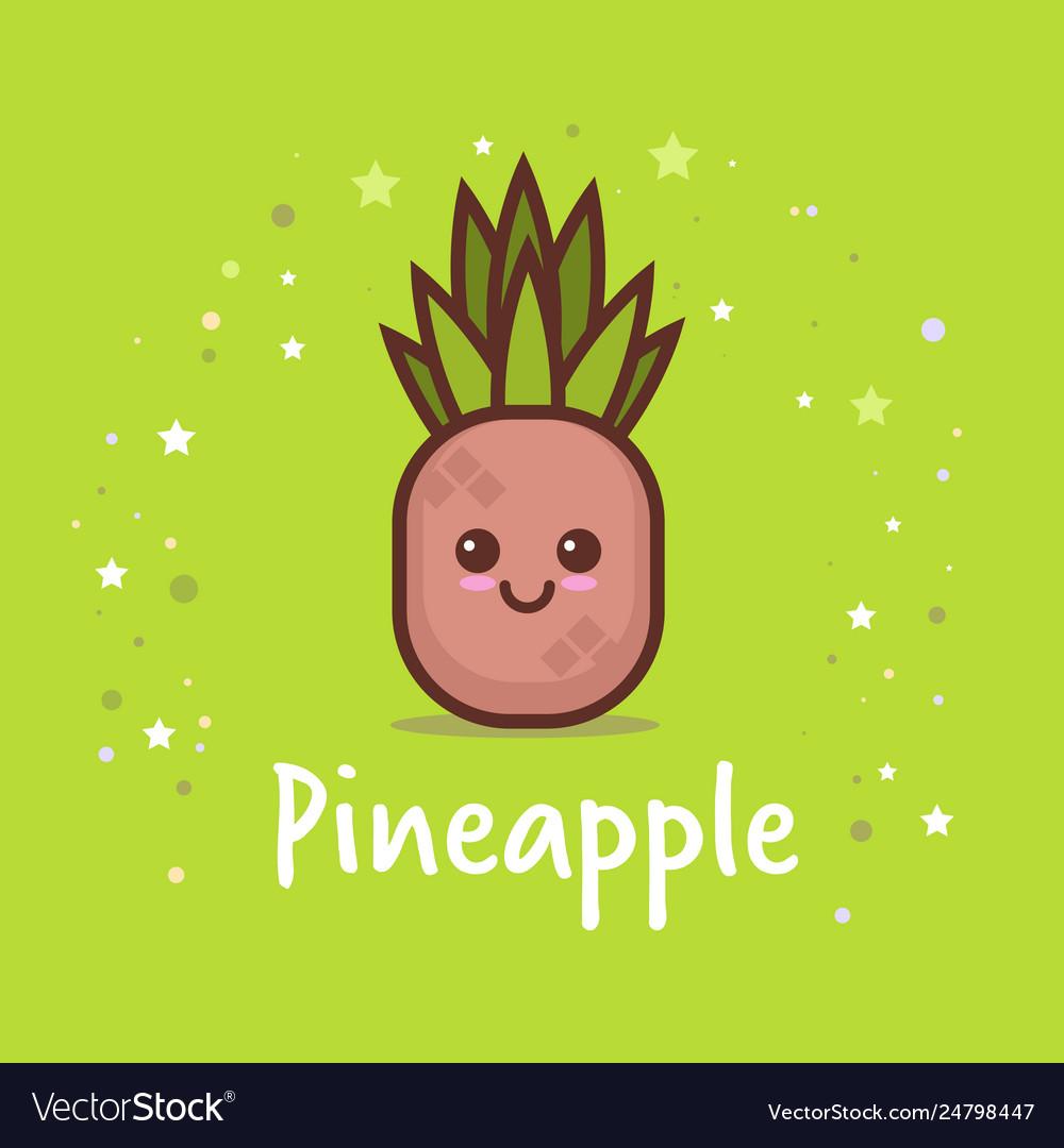 Cute pineapple cartoon comic character with