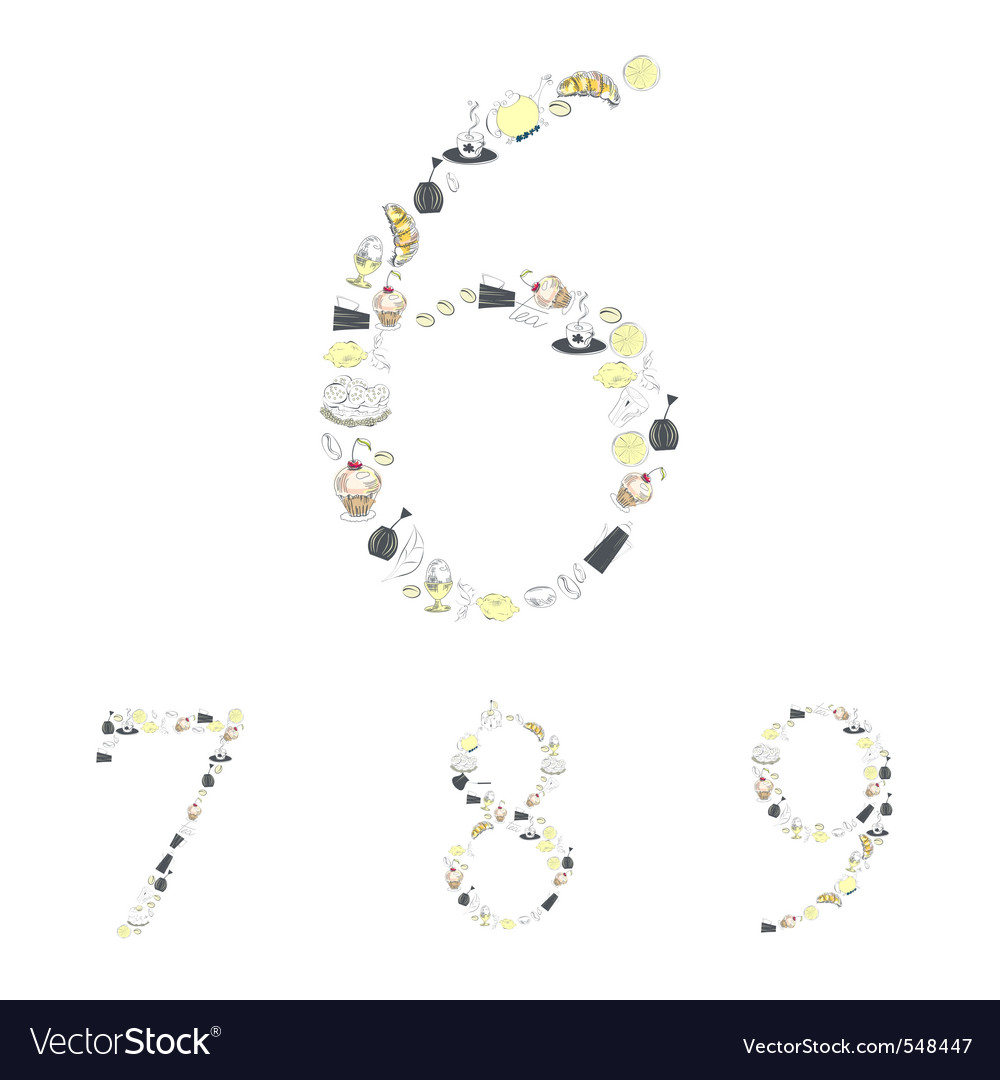 Decorative numbers with food element numbers 6 7 8