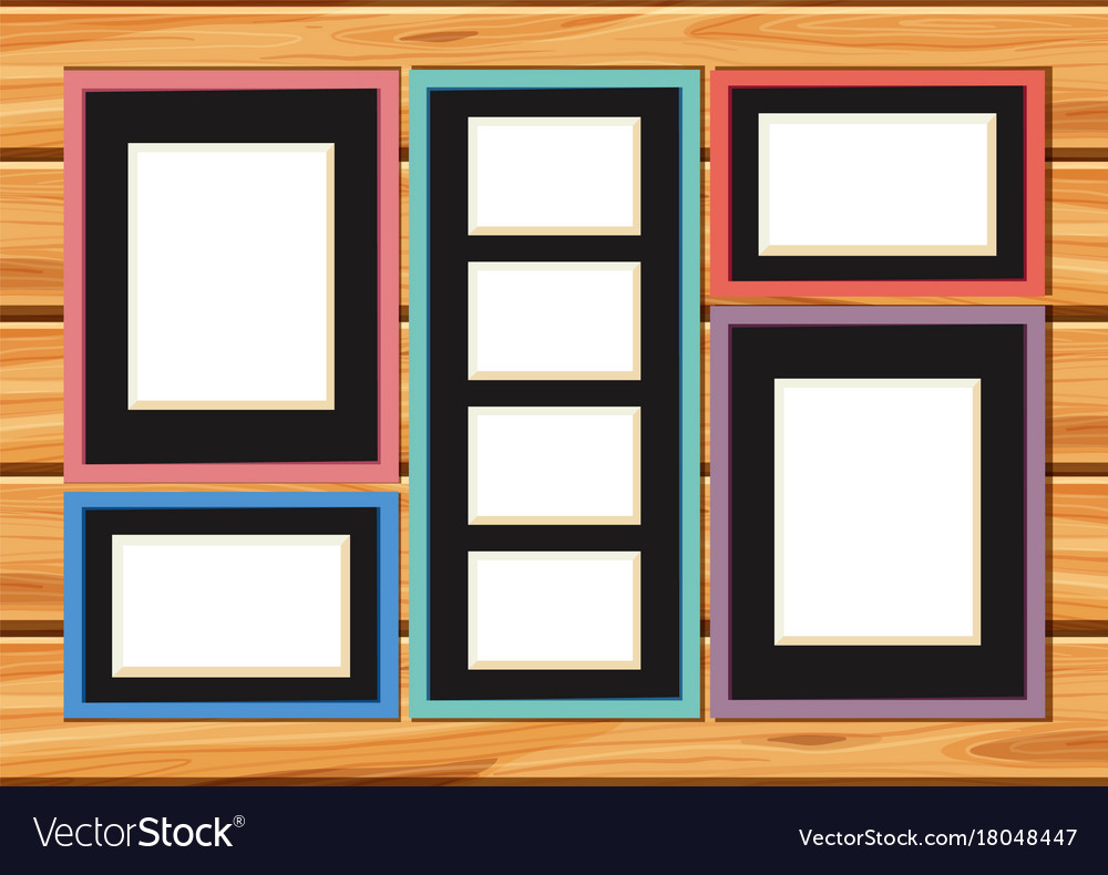 Different sizes of picture frames on the wall Vector Image