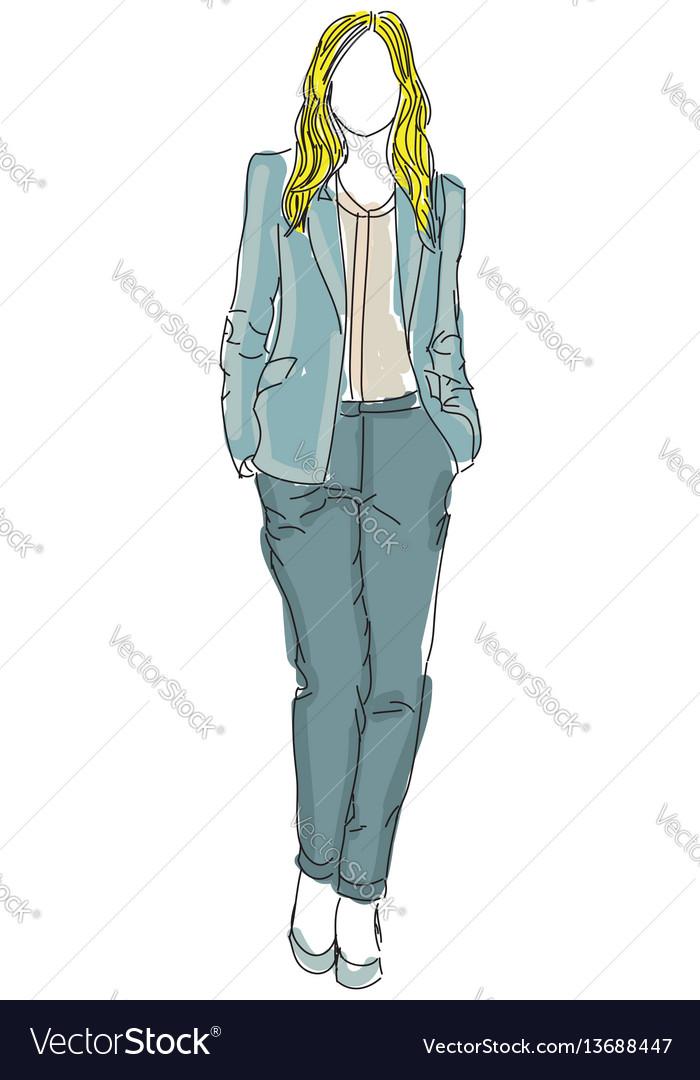 Drawn businesswoman woman