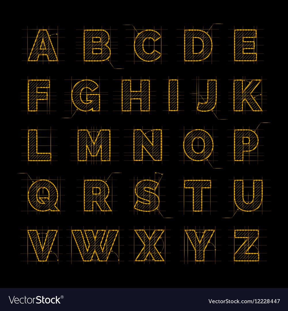 Golden font on black