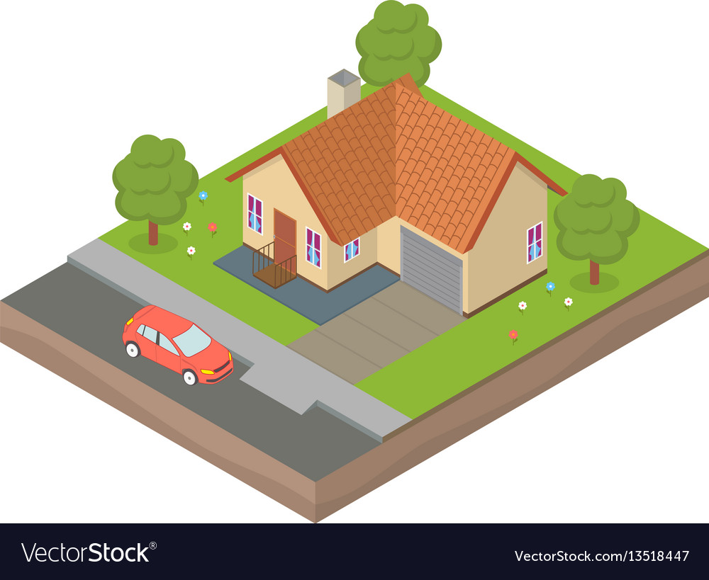 Isometric house with backyard and car