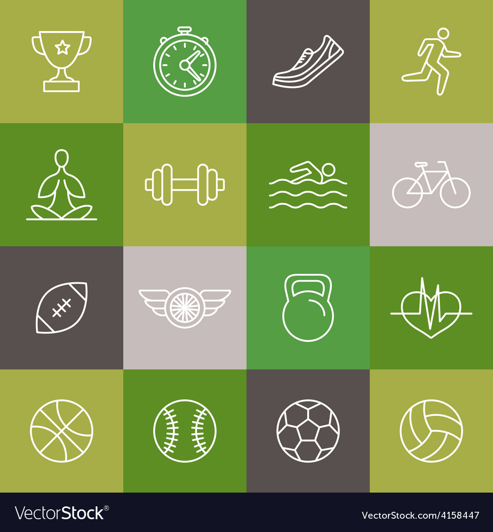 Linear sport and fitness icons and signs