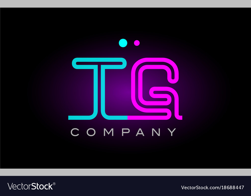Neon lights alphabet tg t g letter logo icon vector image