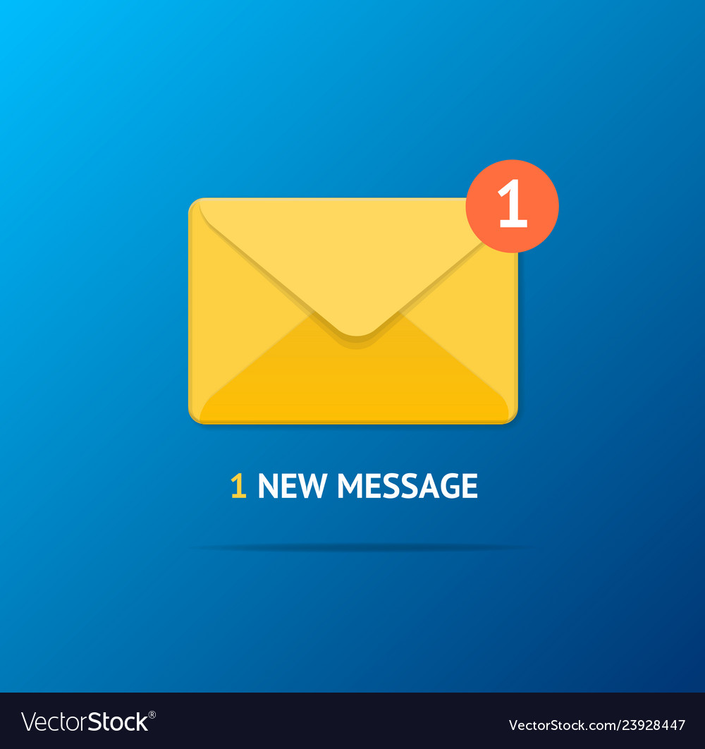 New incoming message concept on a blue background