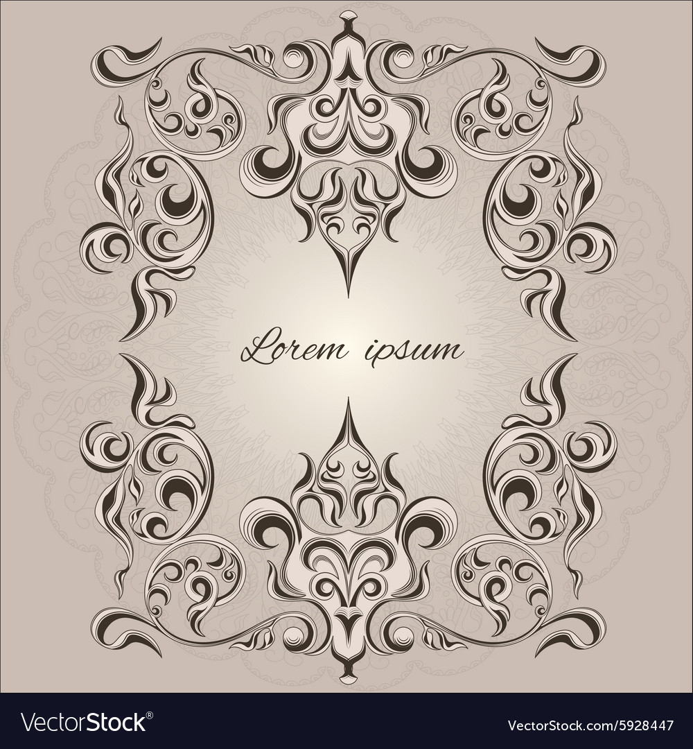 Ornamental frame decorative pattern eastern style vector image
