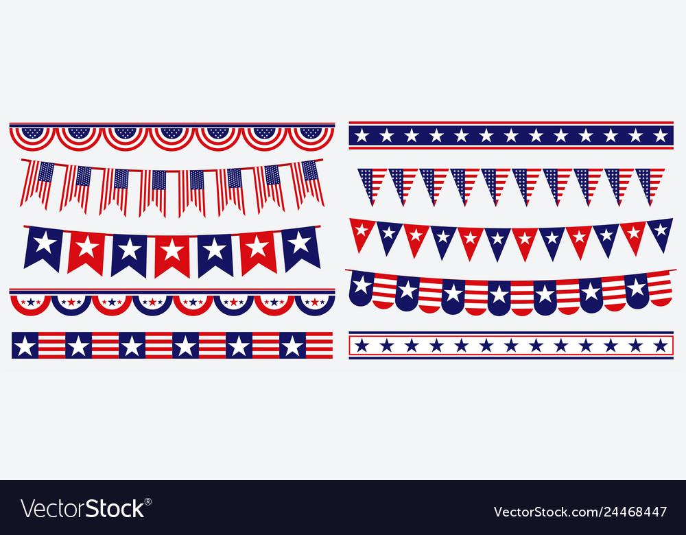 Set of american flag decoration clip art