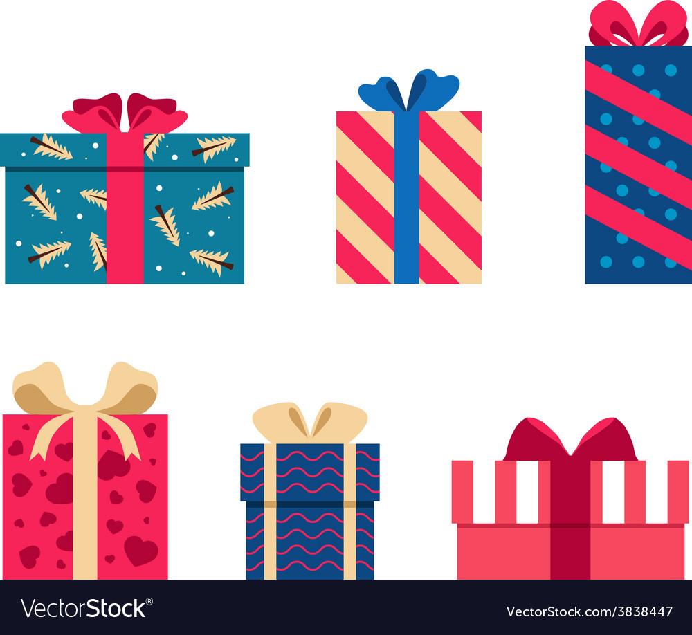 Set of colorful gift box symbols