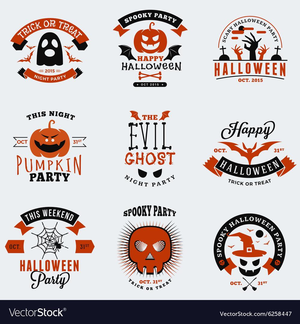 Set of vintage happy halloween badges stickers