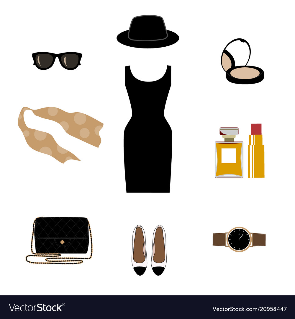 Set with retro fashion objects women hats shoes