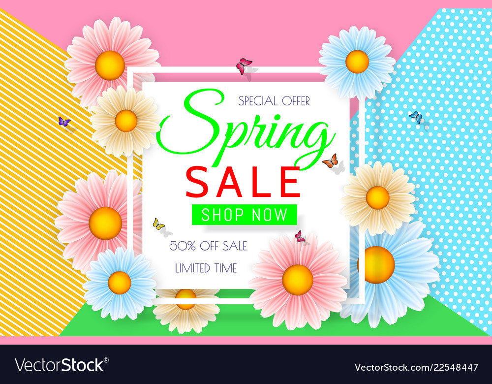 Spring sale background design with beautiful