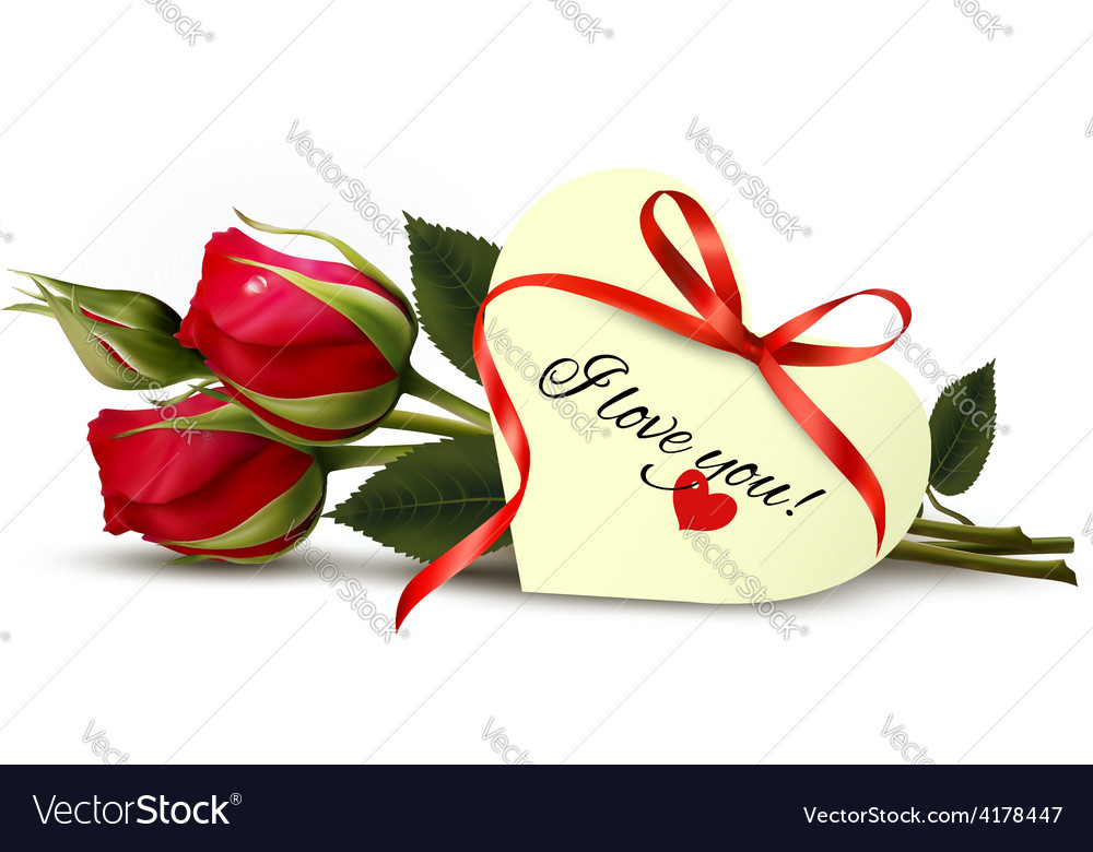 Two red roses with an I Love You note Royalty Free Vector