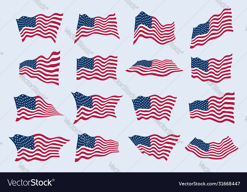 Us flag waving in wind from different