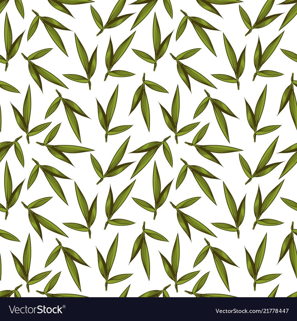 Vintage sketched green leaves seamless pattern
