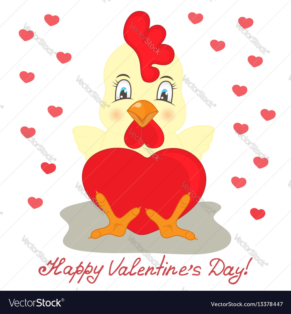Yellow rooster with red heart valentines day