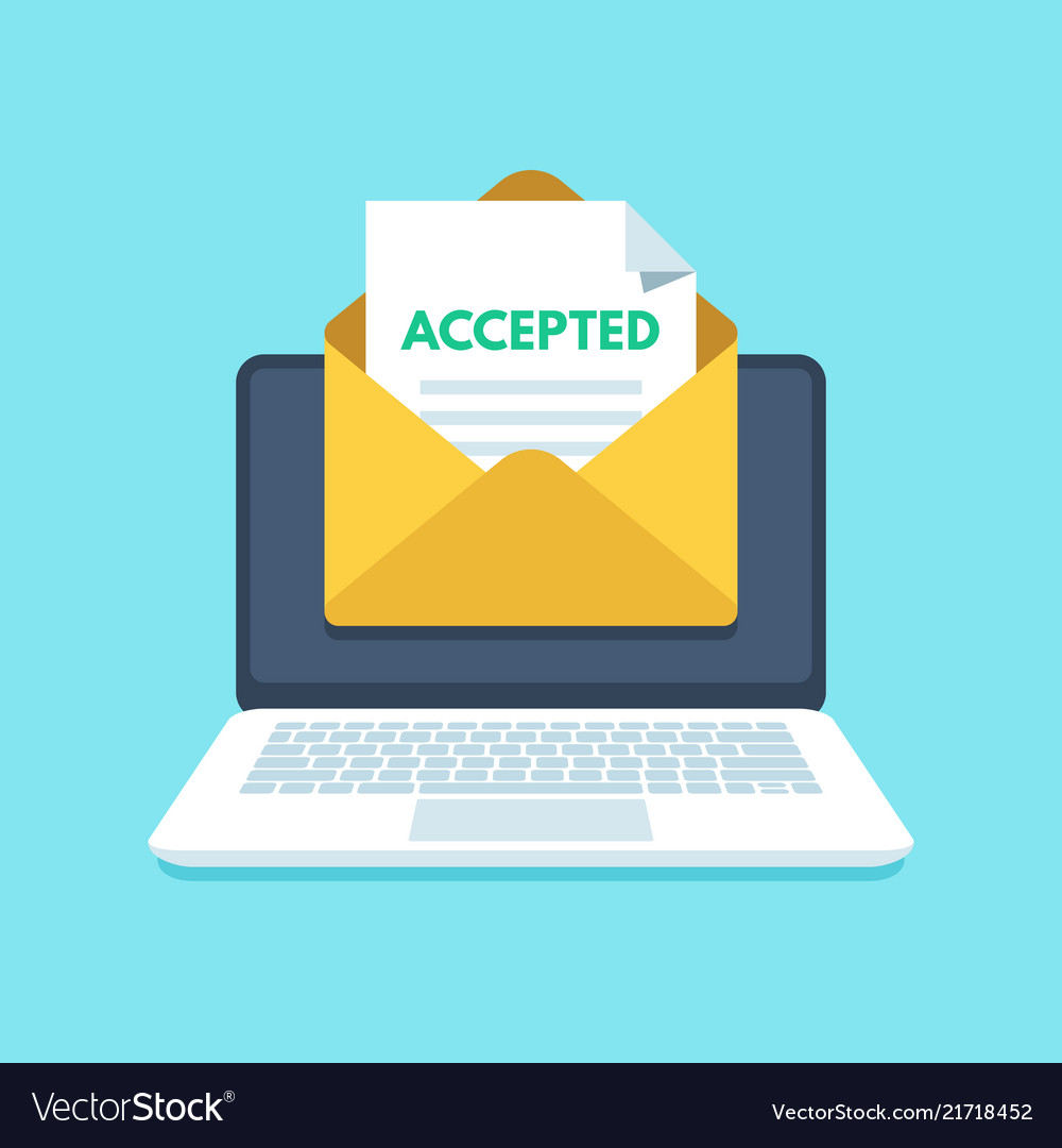 Accepted email in envelope college acceptance