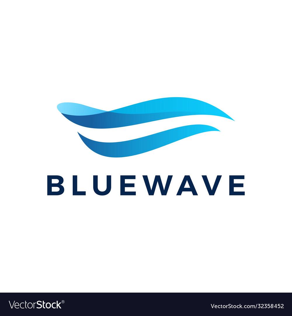 Blue wave water ocean logo icon