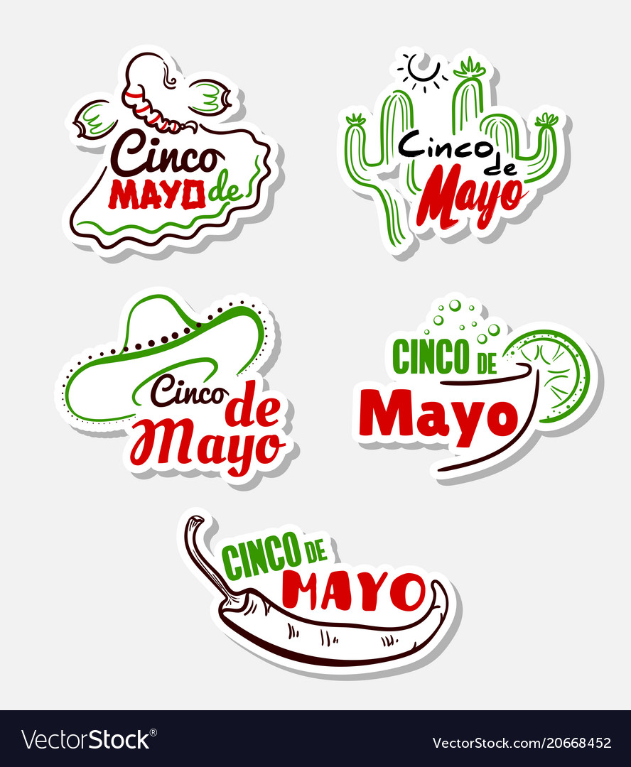 Cinco de mayo stickers set