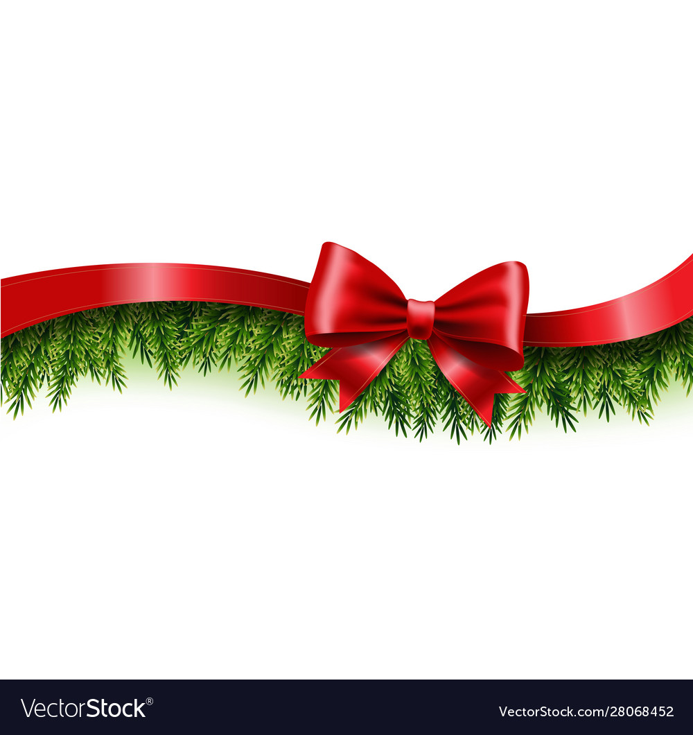 Fir tree border with red bow and ribbon