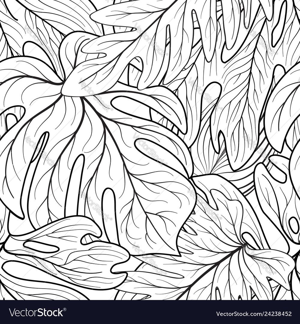 Floral leaf seamless pattern leaves background
