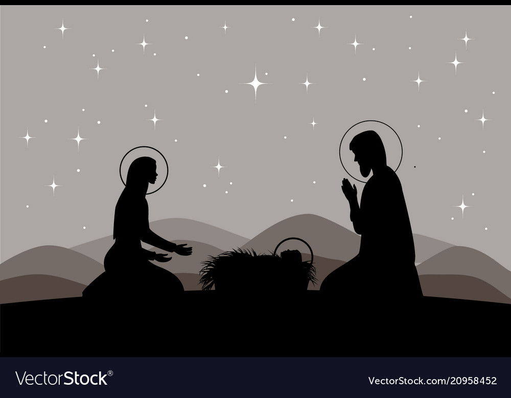 Nativity scene mary with jesus and joseph