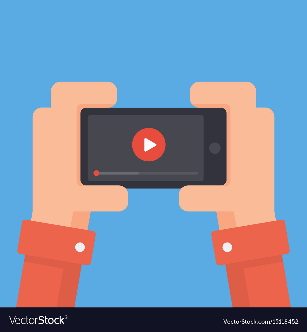 Online video on phone vector image