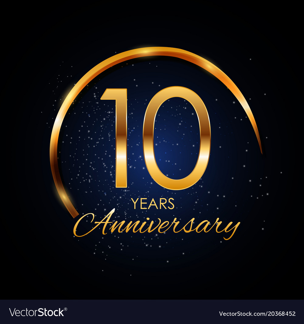 Template Logo 10 Year Anniversary Royalty Free Vector Image