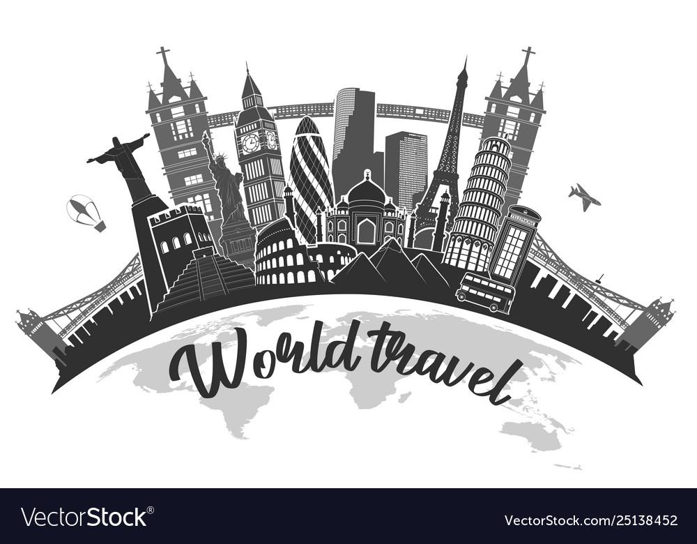 Travel journey famous monuments world