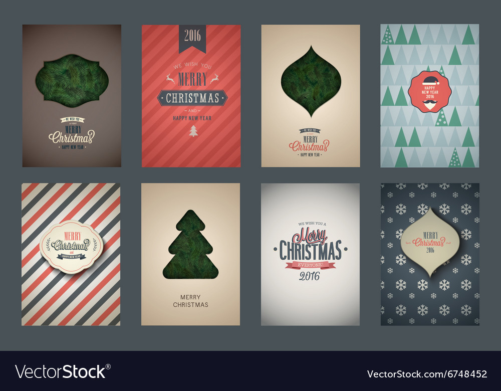 Vintage poster set Merry Christmas vector image