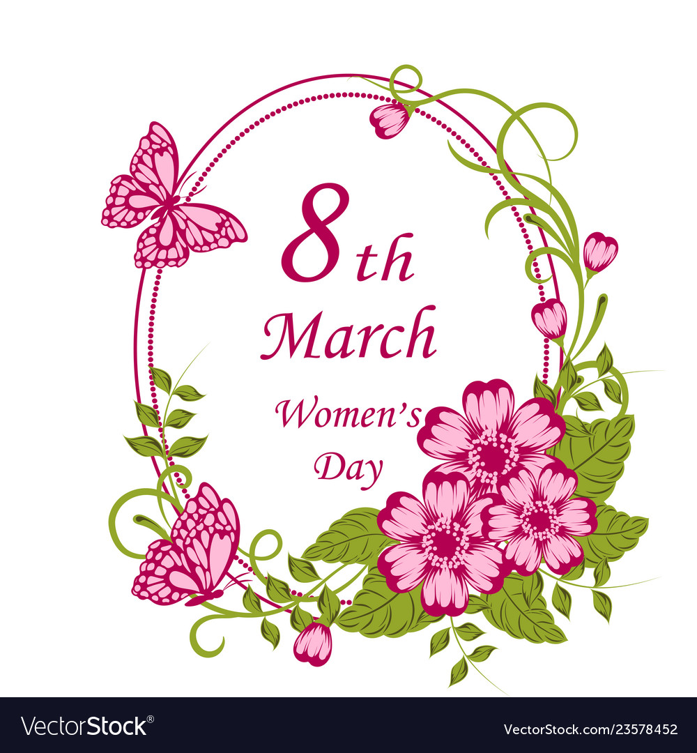 Womens day greeting card with beautiful flowers on