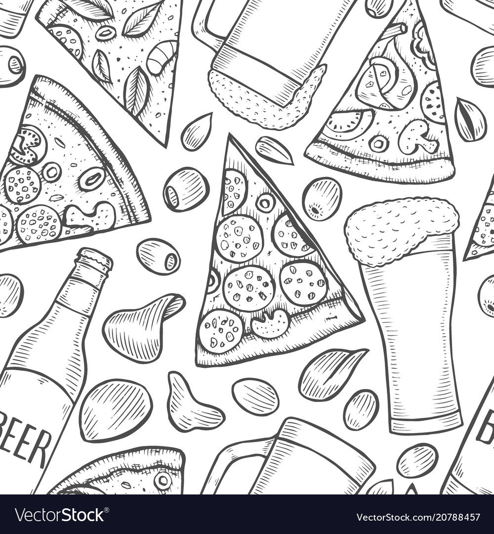 Background of beer and pizza