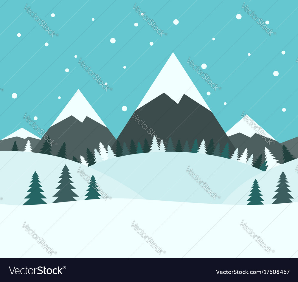Beautiful snowy winter landscape vector image