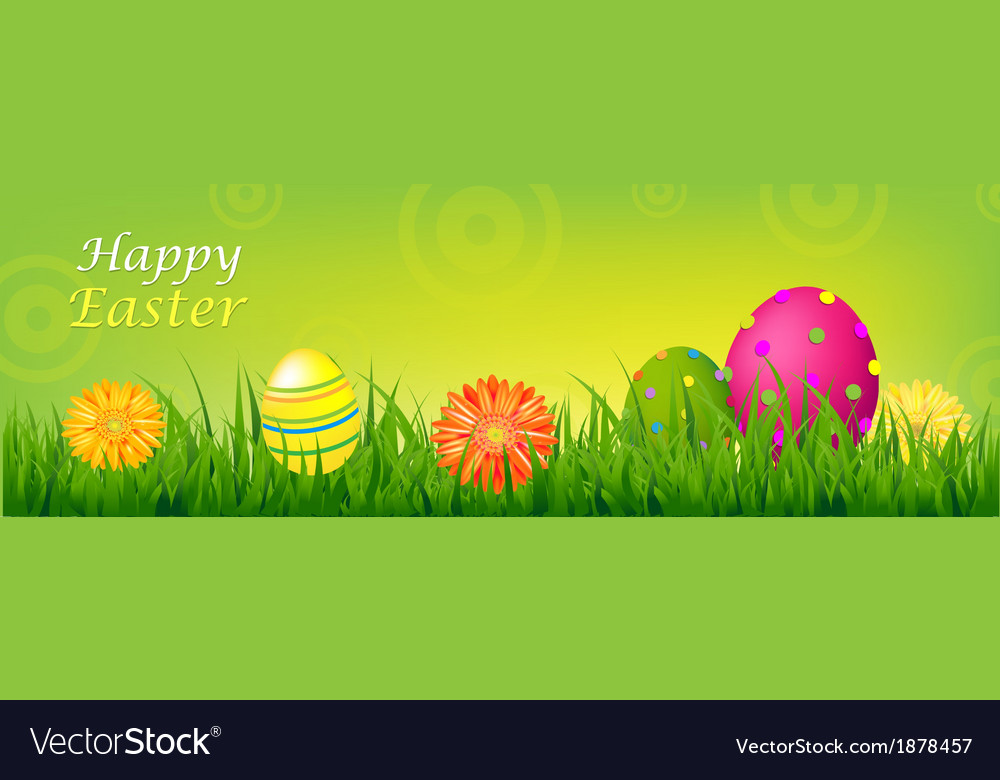 Color Happy Easter Banner Vector Image