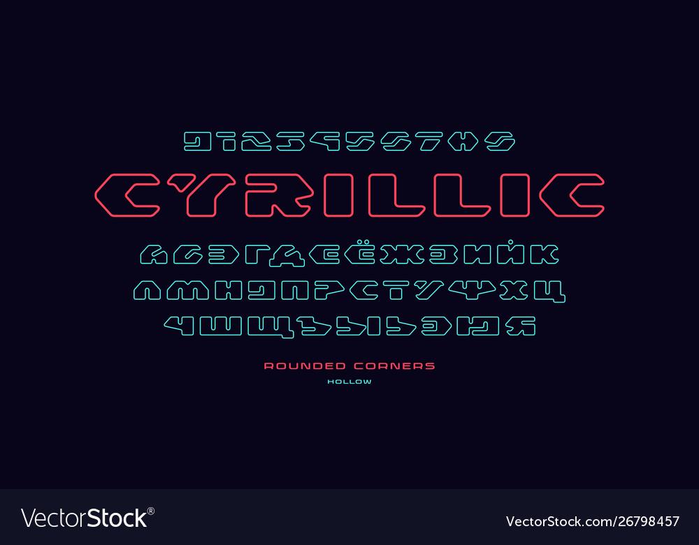 Cyrillic hollow sans serif font
