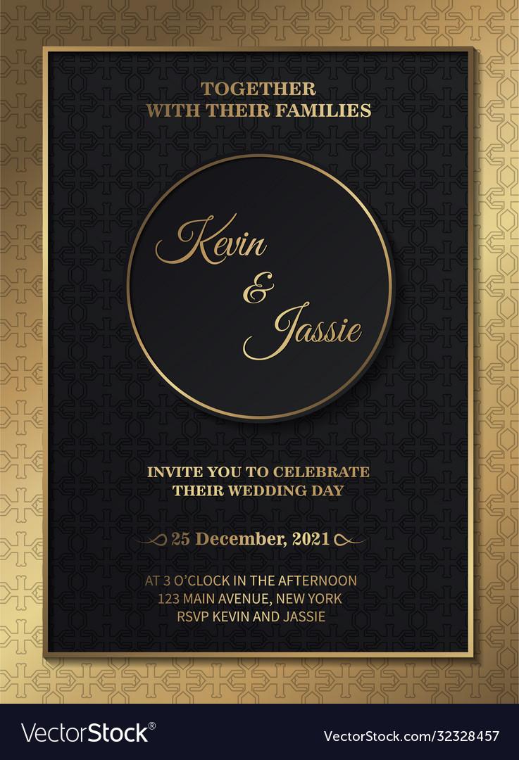 Dark gold wedding invitation template Royalty Free Vector