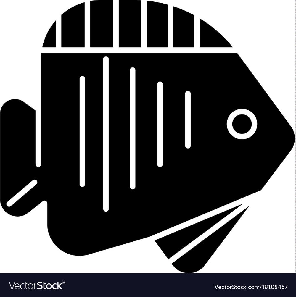 Fish tropical icon black