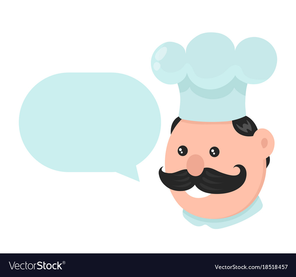 Funny smiling cook with talking dialog