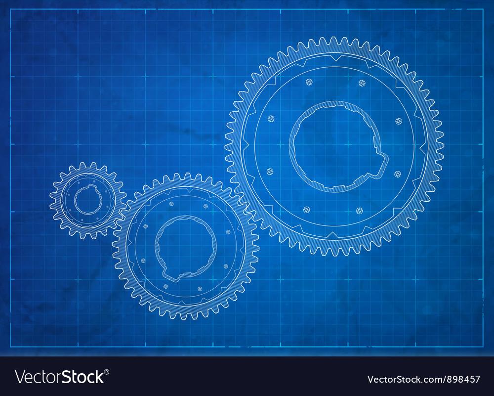 Gears blueprint Business concept vector image