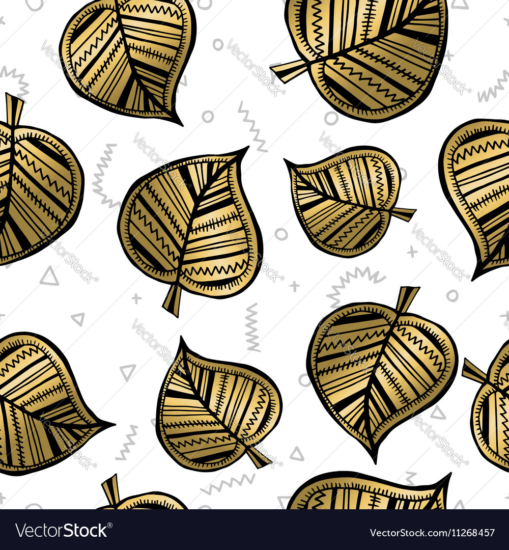 Gold autumn leaves seamless pattern